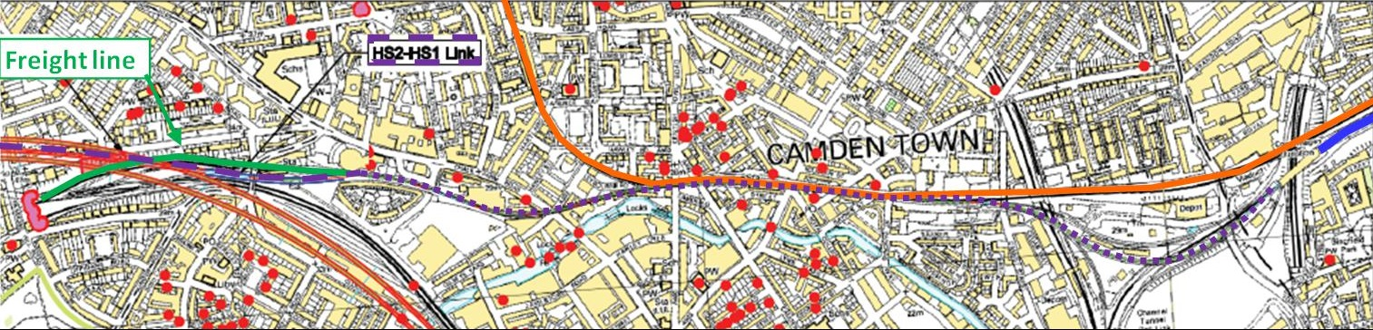 Camden Local Map showing HS2-HS1 surface section