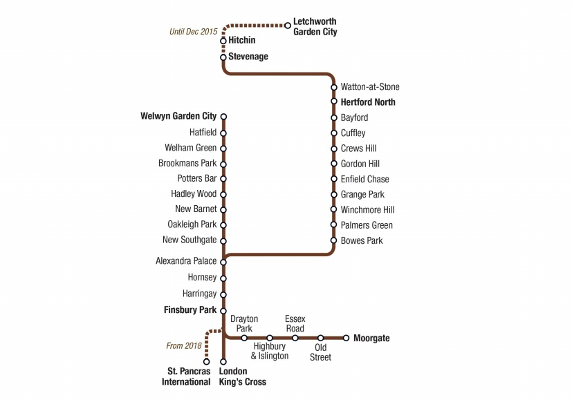 East Coast Mainline Routes Branches Part The Hertford Loop - Northern line map london