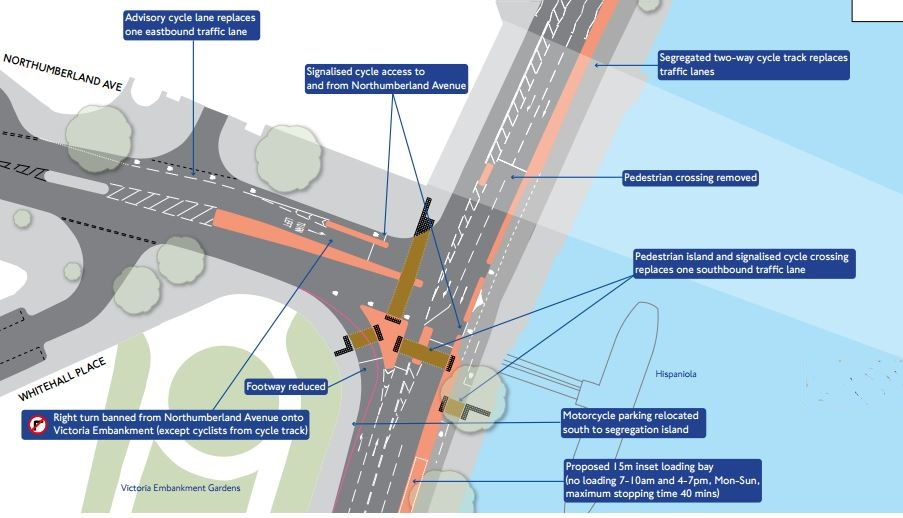 Revised scheme for Northumberland Avenue