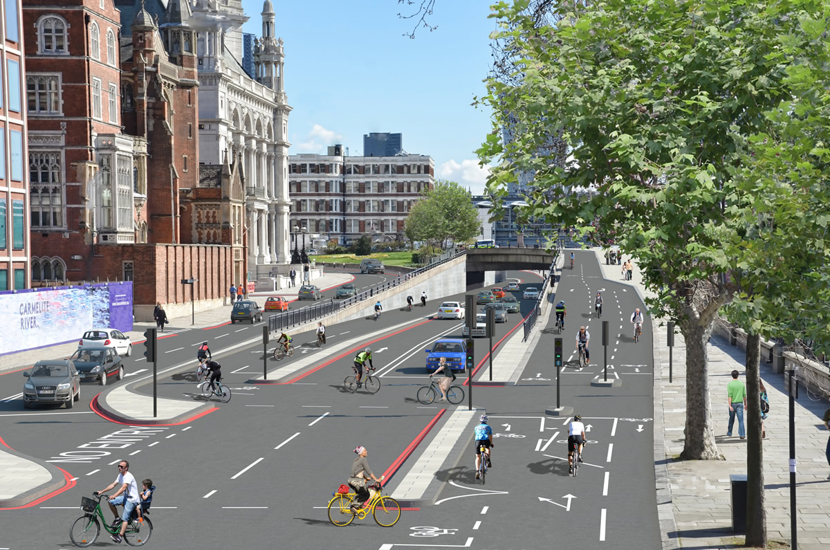 Mock up of link between the two cycle superhighways