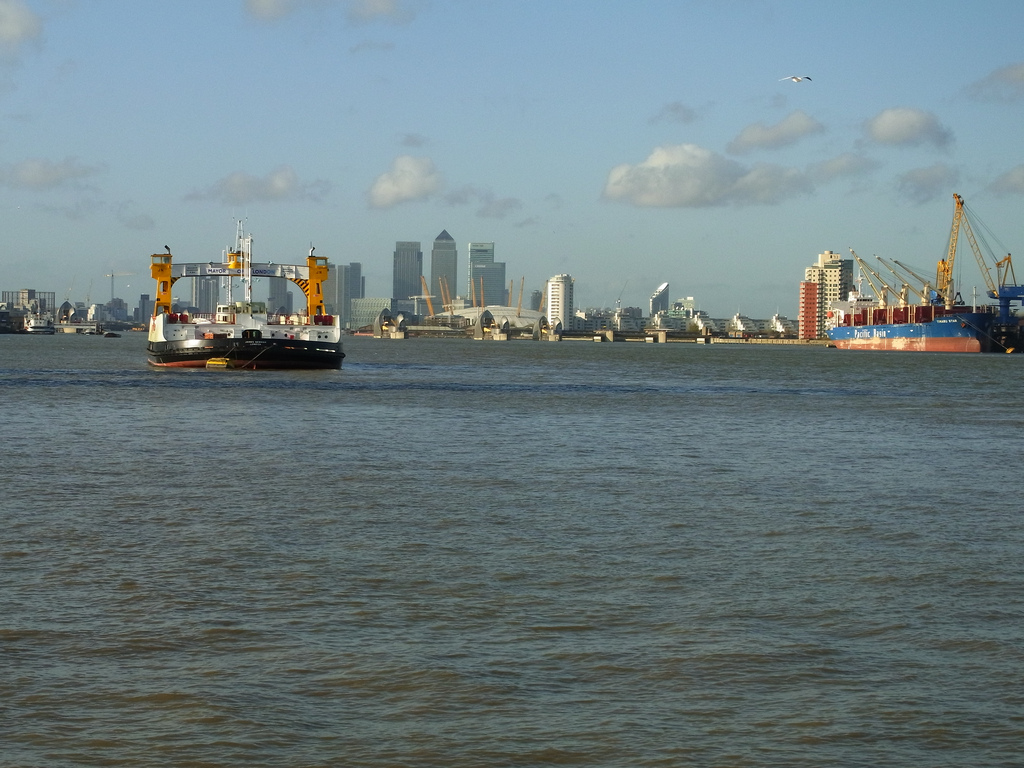 The Ferry, with Docklands in the distance