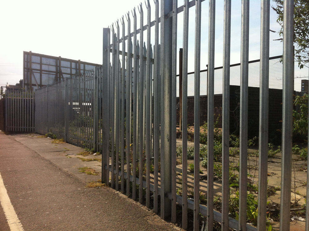 The remains of the station building, now fenced off