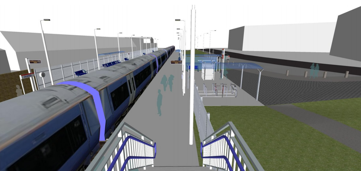 A mocked up view from the footbridge of the Stratford platform and station building