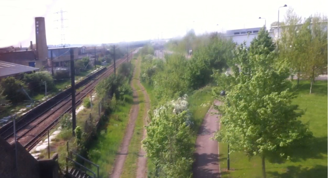 The station, abandoned trackbed, and the bordering space by Argall Way