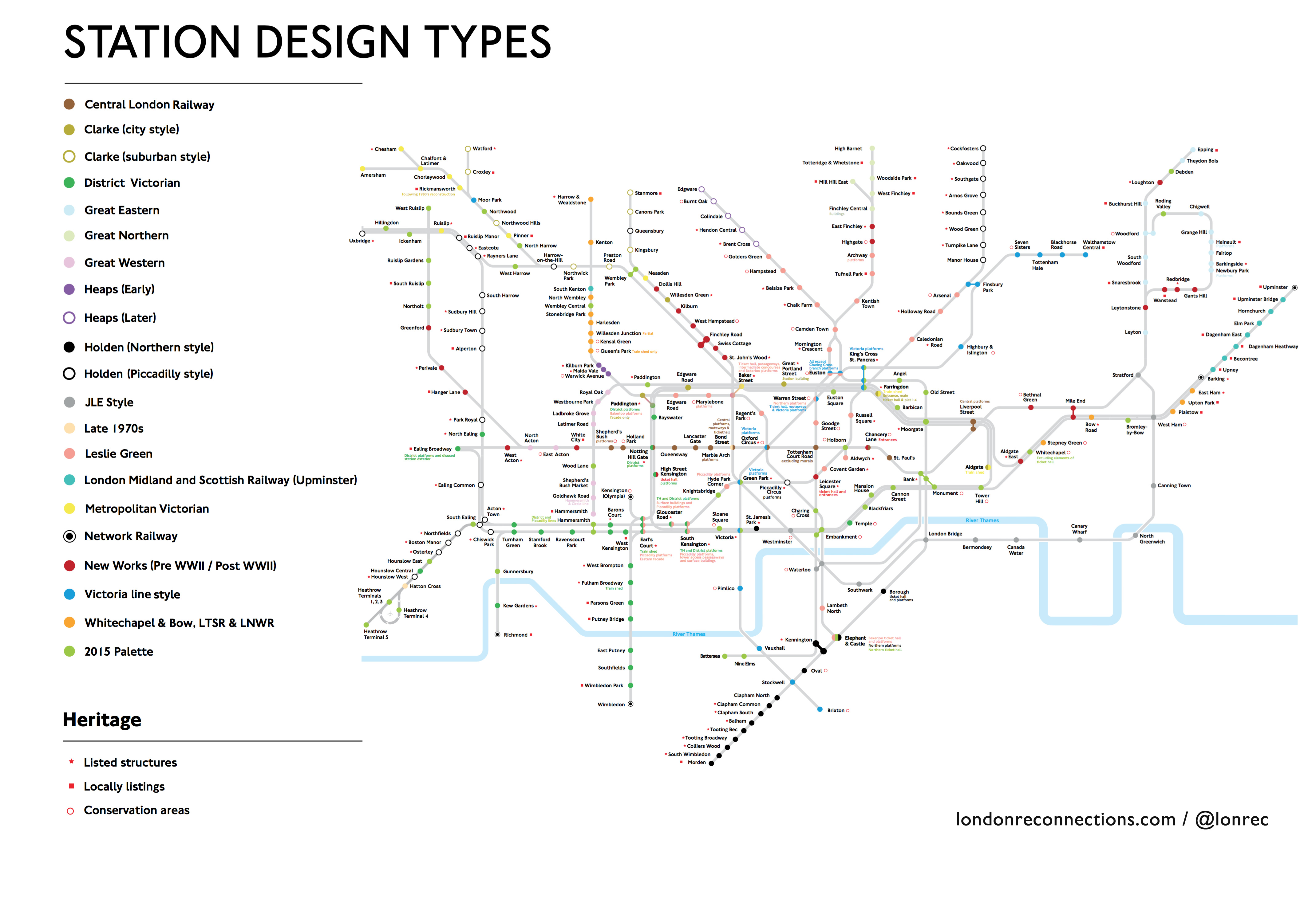 London Subway Map Russell Station.Tube Map Labelled To Show The Different Styles Of Station And Their