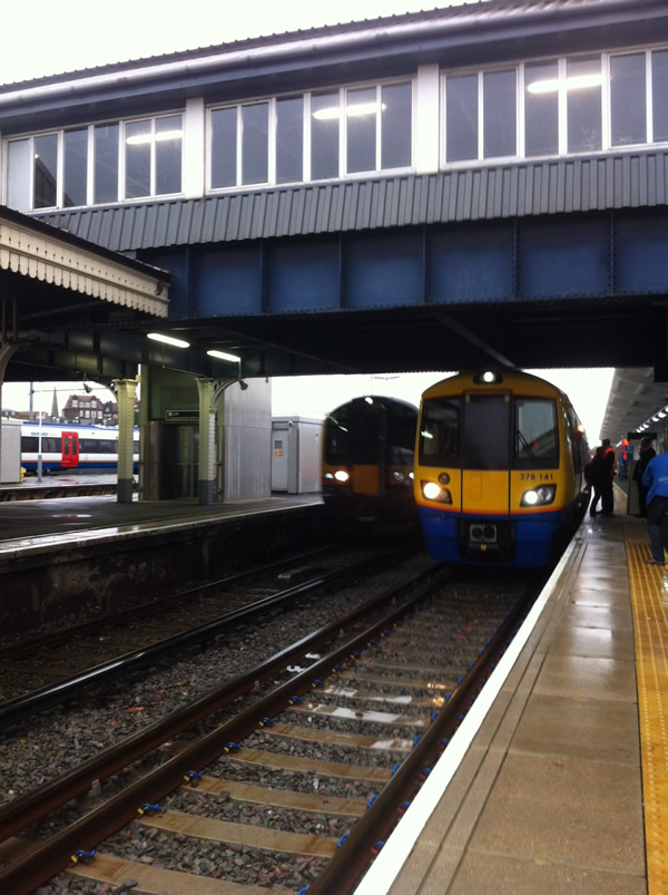 A 378 (technically the second in passenger service) in the new Clapham Junction platform