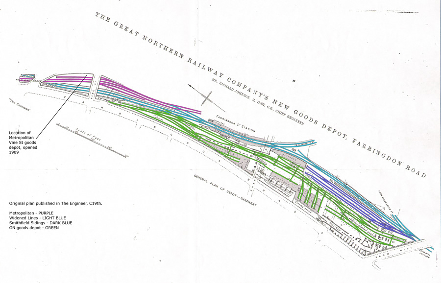 Original Farringdon GN goods depot basement plan courtesy of Basilica Fields