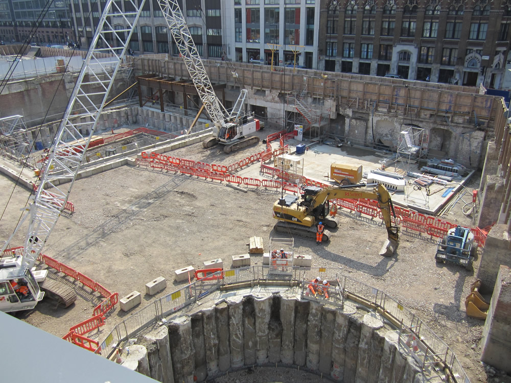 Farringdon Crossrail station worksite, located on part of the old GN Goods depot