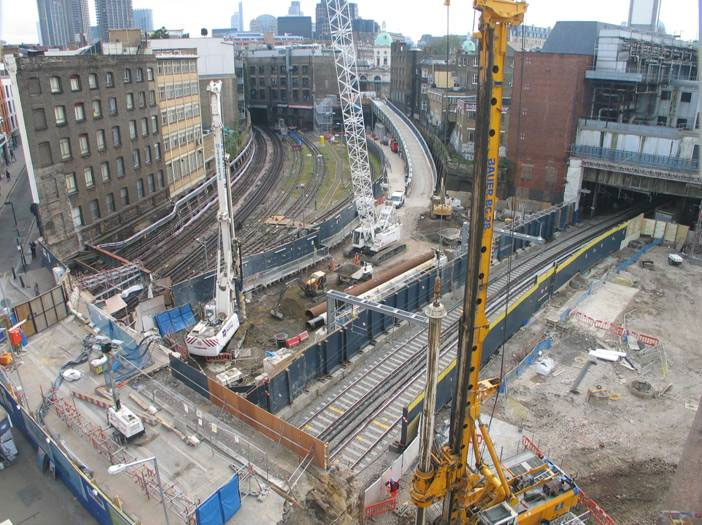 Farringdon worksite looking east, courtesy of Tubeman at Skyscrapercity