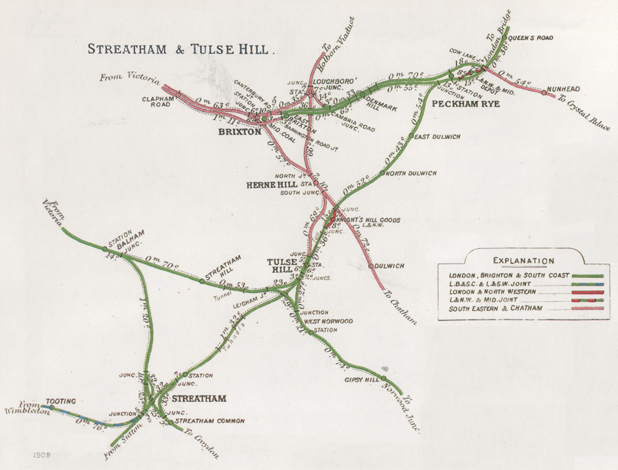 1908 Railway Clearing House map showing Herne Hill amidst the South London tangle
