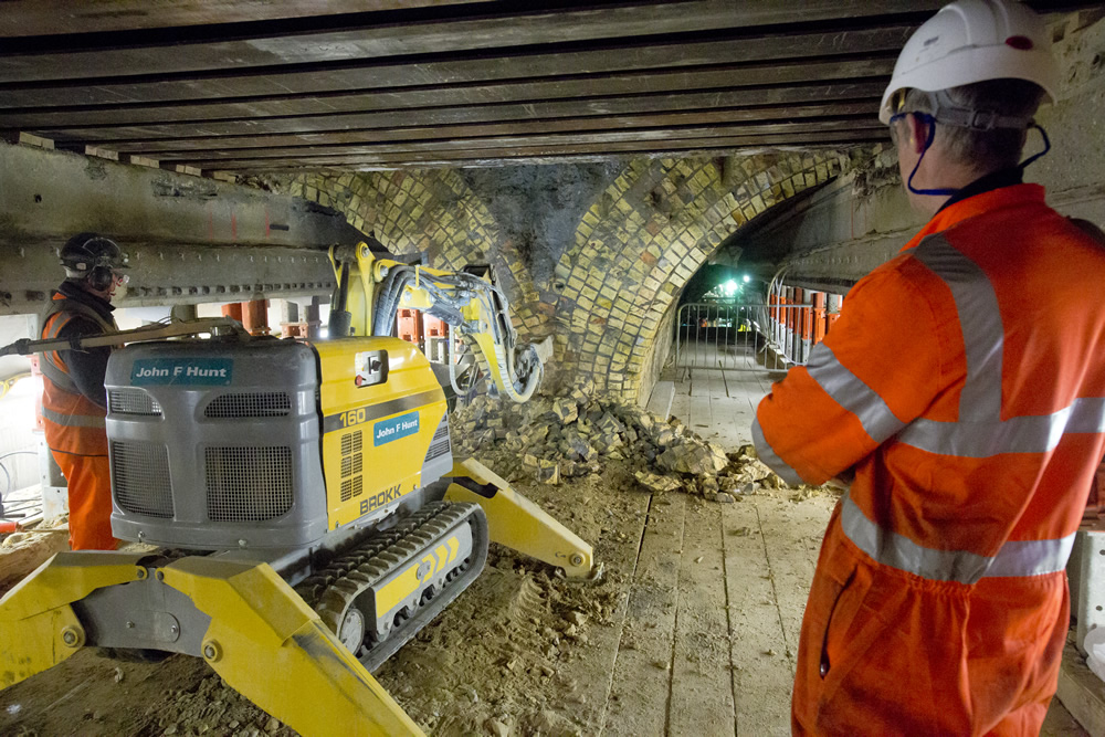 Working on the arches in the Connaught Tunnel