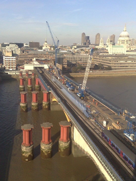 View from Ludgate House over Blackfriars at the early stage of works in 2009, with the through lines still on the west side.  Courtesy adele.turner