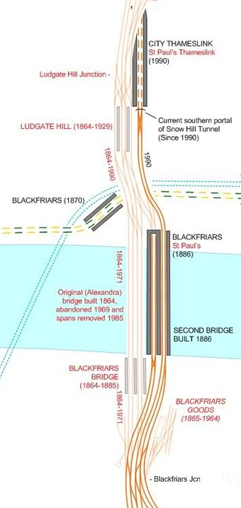 The route north from Blackfriars was four tracks, with eight tracks over Blackfriars Bridge.  Extract from London Rail Atlas 2nd Edition, courtesy of Joe Brown