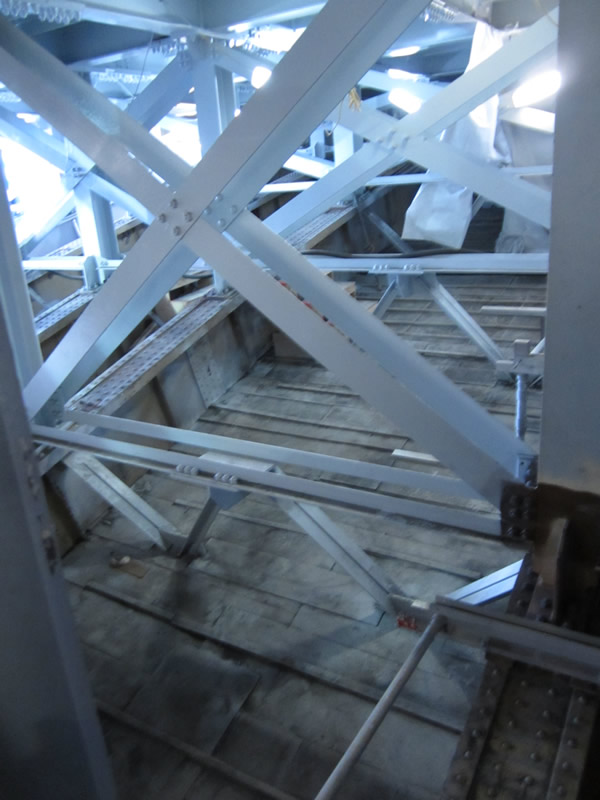 Steelwork within the spandrels