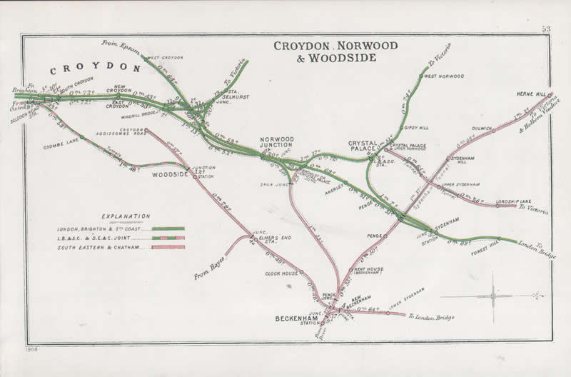 Pre Grouping railway junction around Croydon, Norwood & Woodside