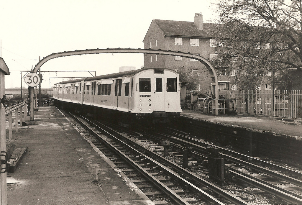District Line train 002 at Bromley by Bow, 1977