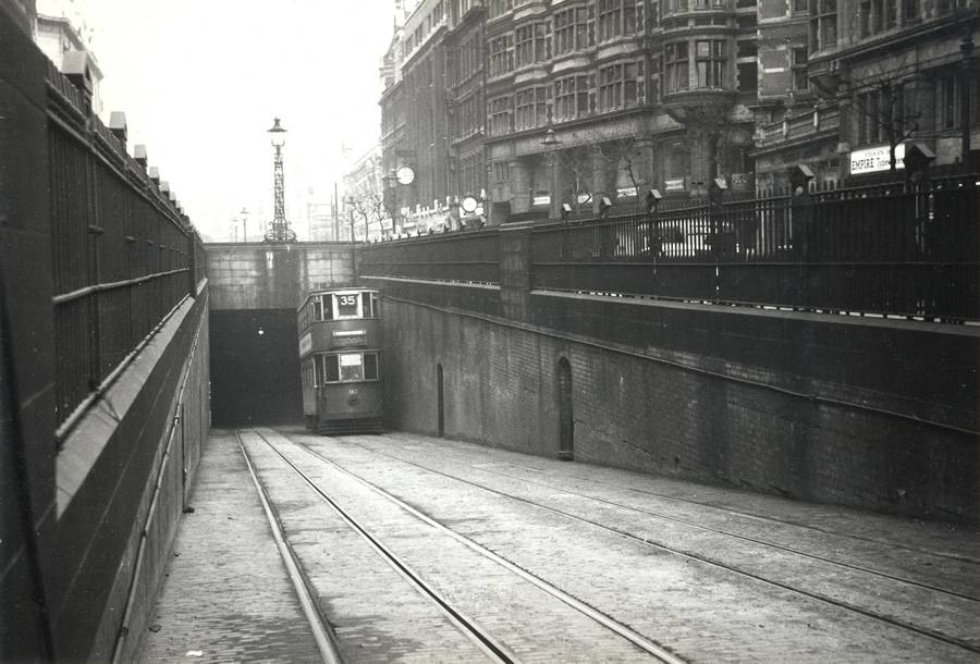 The tunnel pictured at some point between 1945 and 1951