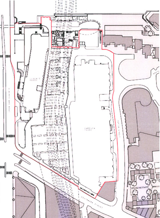 Ground level plan with the proposed development boundary marked in red (EIA Scoping Report p3)