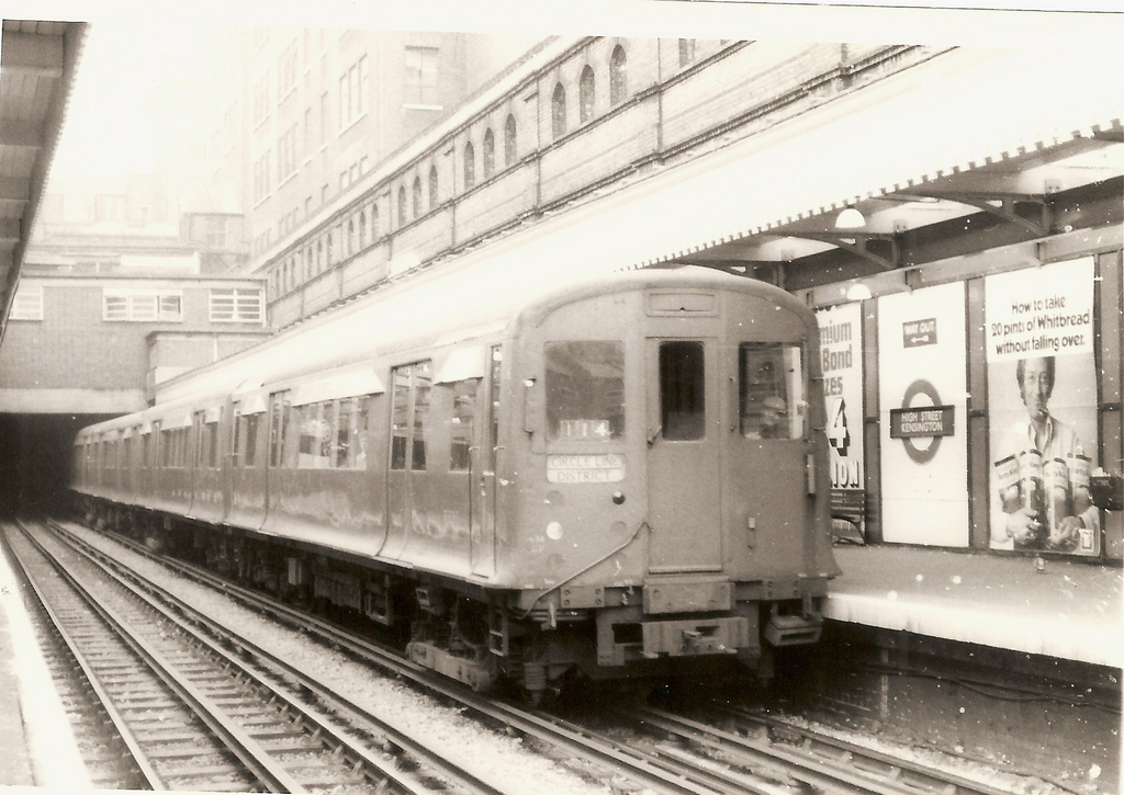 A Circle Line Train at High Street Kensington, October 1973