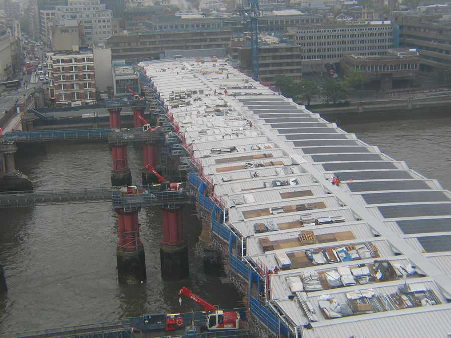 Construction in early 2012, showing how the new bay platforms use some of the '409' piers for support