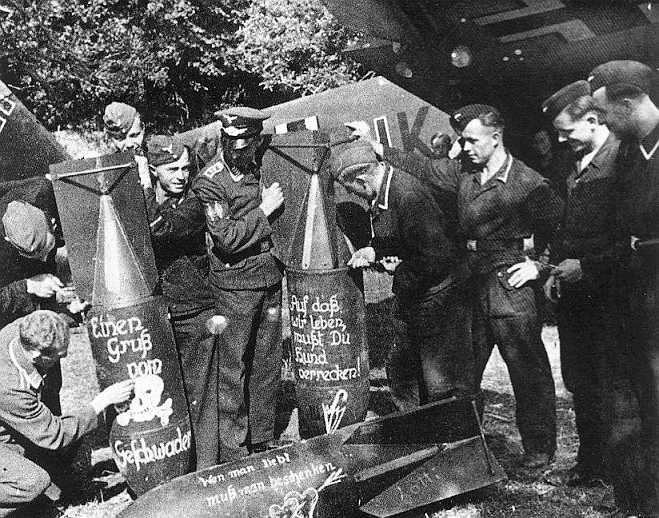 German Pilots Pose With Their Bombs