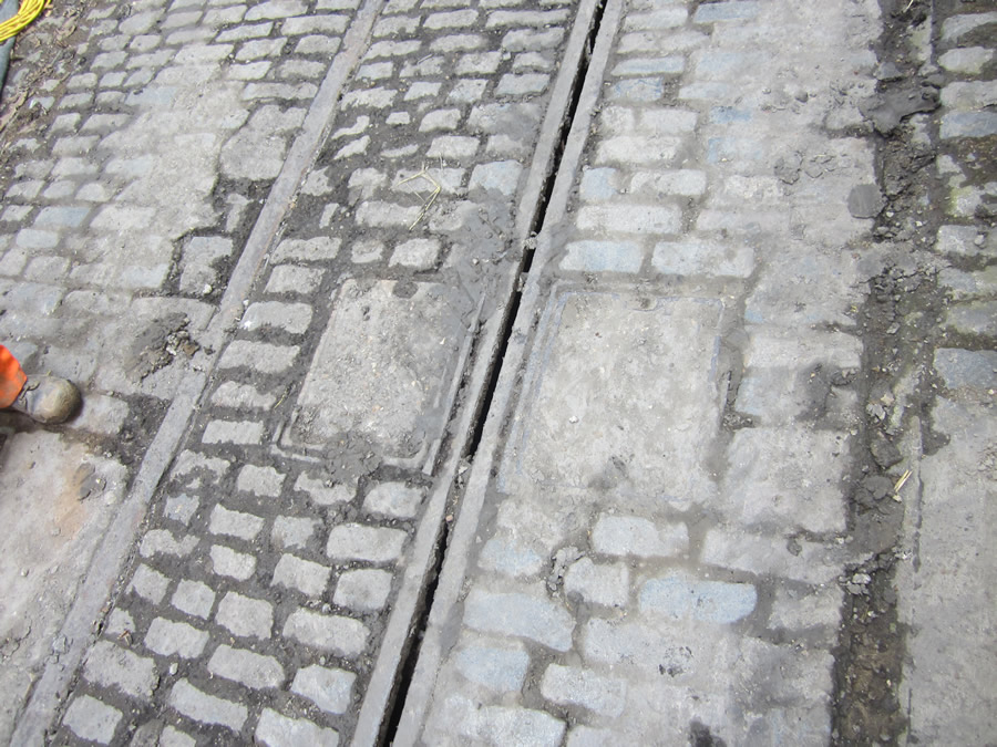 Track and cobbles remain in place at various points