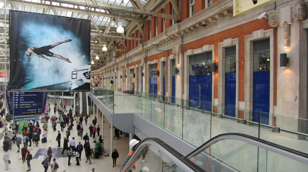 Looking along the balcony, Network Rail's love of retail space is evident