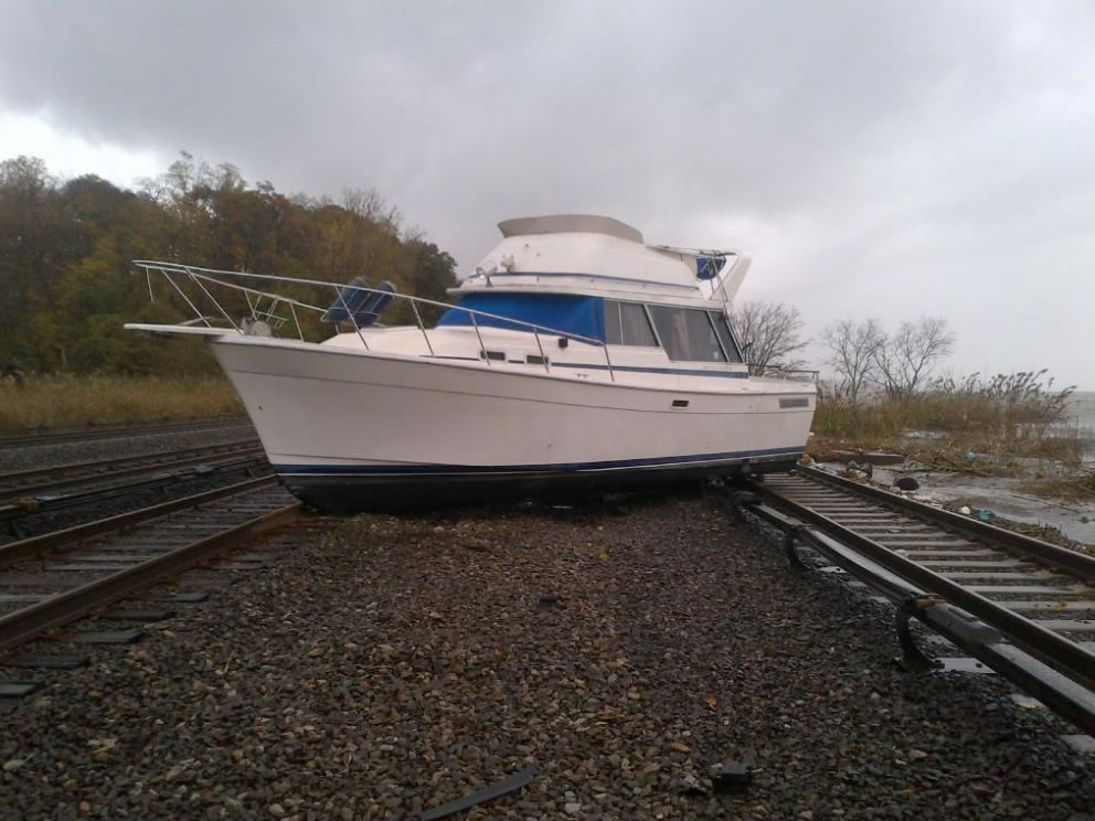 Boat on the tracks near Ossining Station, via the MTA