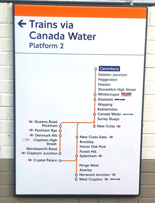 New Overground Signage at Cannonbury