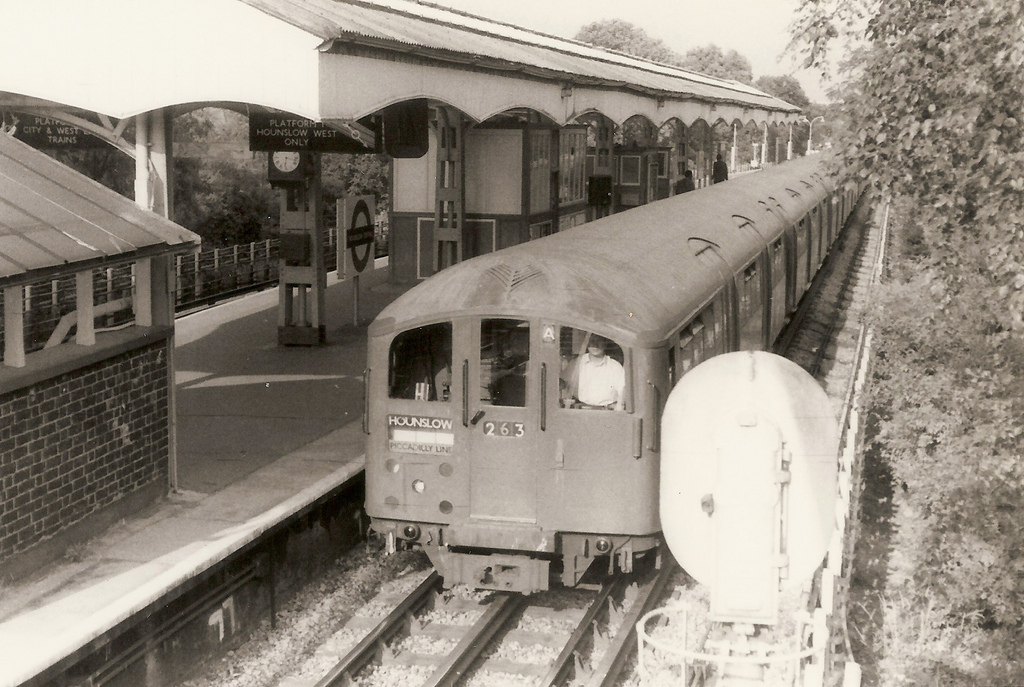 1938 Tube Stock at Hounslow Central on the Piccadilly, July 1975