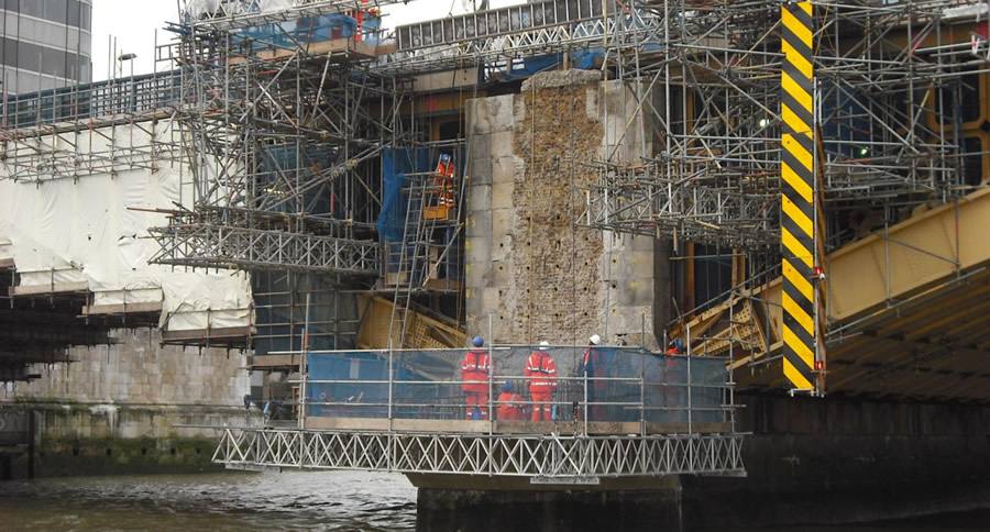Removing the eastern pier facings