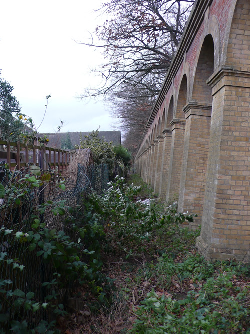 Retaining wall on the approach to Crystal Palace High Level