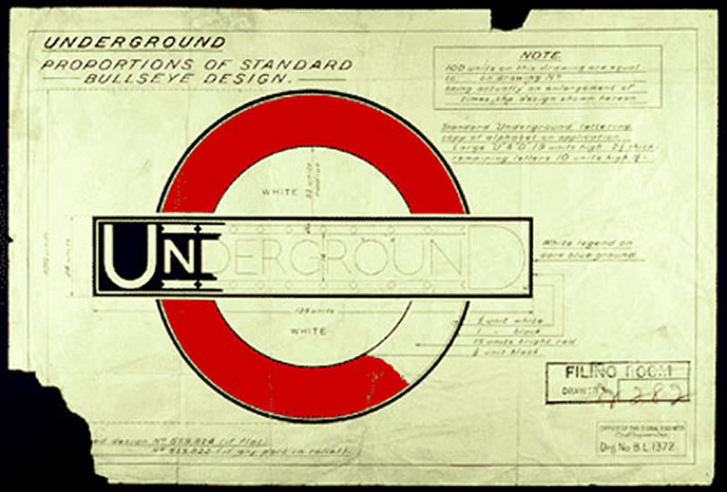 One of Johnston's Roundel sketches, courtesy the Design Museum