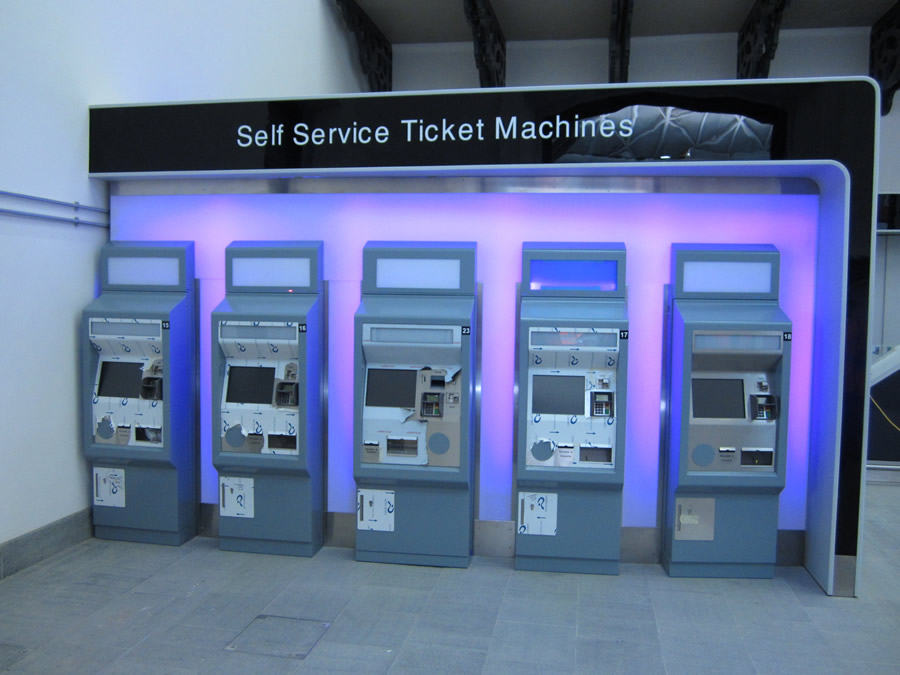 Self-service machines in the ticket hall
