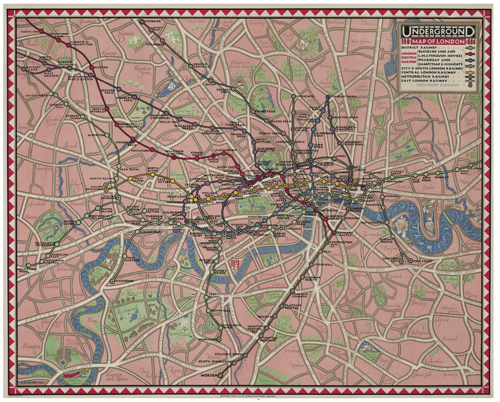 Underground Map of 1926 - Reginald Percy Gossop