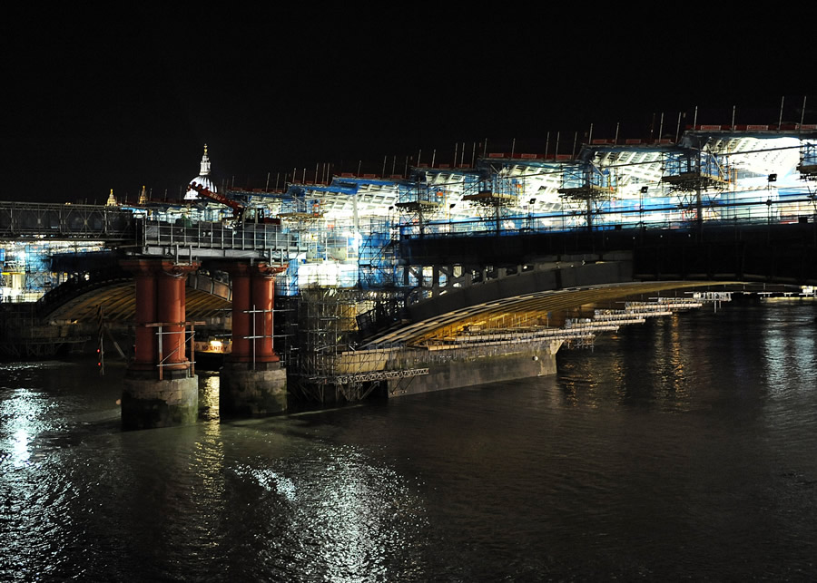 The work on the old piers at night
