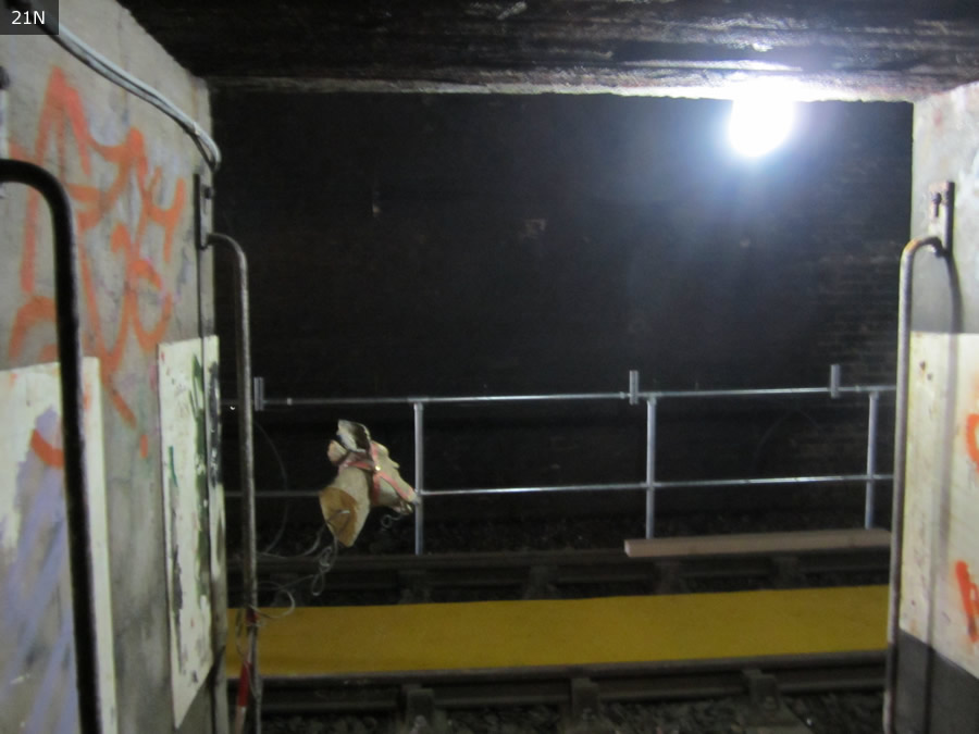 Connecting passage between Down and Up lines - complete with spooky disembodied deer head