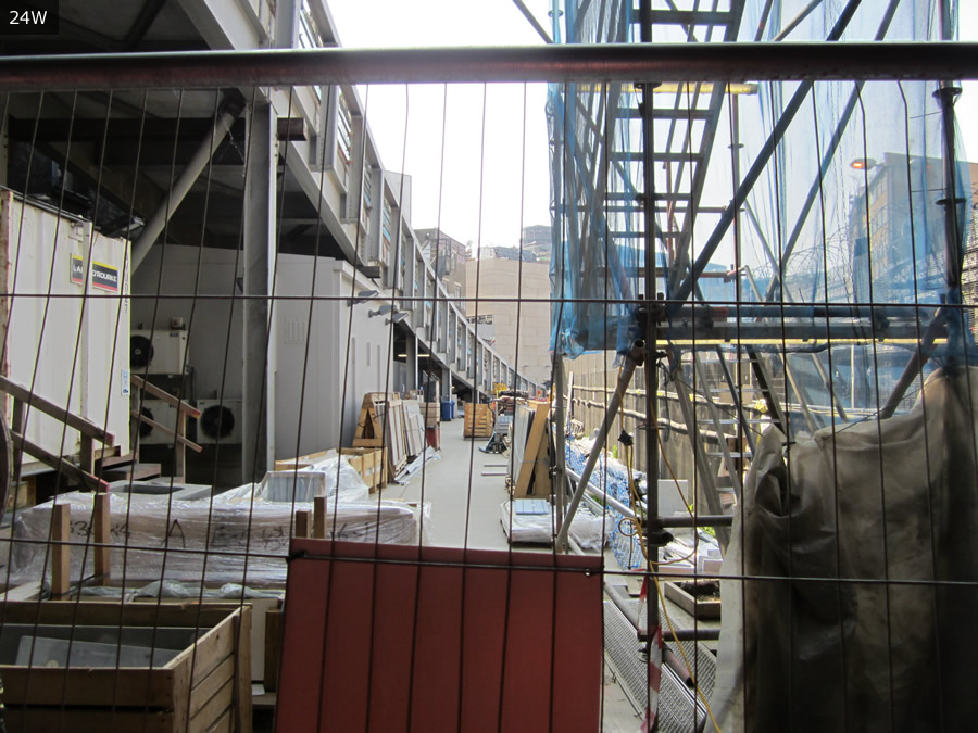 Looking out from the Widened Lines, with Farringdon ramp on the left